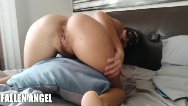 BABY WITH A HAIRY PUSSY RIDES A PILLOW TO ORGASM