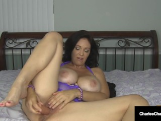 Busty Milf Charlee Chase Face & Pussy Fucks Dildo!