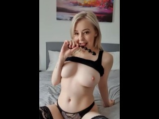 Blonde babe fucked anally with beads