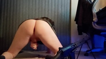 Femboy Gun Nut Bends Over And Nuts From Behind
