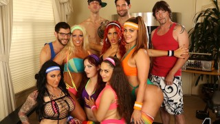 6 Busty MILFs & Teen 80s Workout Turn Into an Orgy With 4 Huge Cocks!!