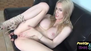Horny big tittied blonde masturbating