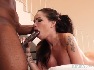 Petite Raven Bay Takes a Big Black Cock At The Spa Raven Bay