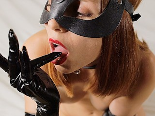 My DELICIOUS WHITE CUM on her BLACK GLOVES. Dirty CUMPLAY by my LITTLE SUB