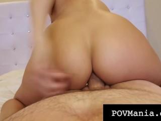 POVMania – Dick Sucking Brunette Makayla Cox Milks Cock!