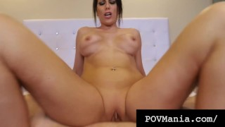 POVMania - Dick Sucking Brunette Makayla Cox Milks Cock!