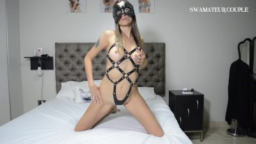 LEATHER HARNESS WITH CRAZY ANAL - SWAMATEURCOUPLE