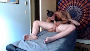 "Raw Sex from Hung 6'7"" Daddy on Massage Table"