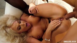 Big Tits Blonde in Stockings Deepthroated Before Hardcore Anal Sex
