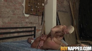 Rope tied twink bitch choked and roughly fucked