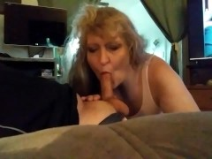 My Dads Girlfriend takes a throat full of cum ..