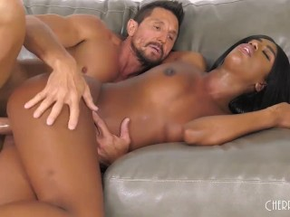 Ebony With Big Tits Ashley Aleigh Squirts While Fucking A Fat Cock