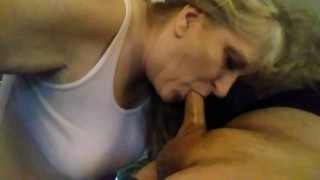 Stepmom swallows my cock any time I want ..