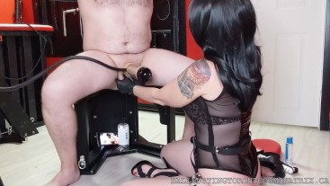Trying Out The Venus Milking Machine with Ball Punching & Squeezing