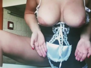 Horny Maid Kitchen Counter Fuck Loud And Intense Orgasm...
