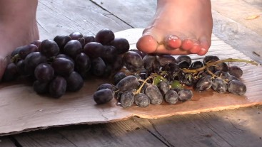 crush grapes with bare feet