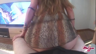 She Catches him watching porn and helps to cum quickie