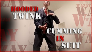 Preview - Hooded Twink Cumming in Suit