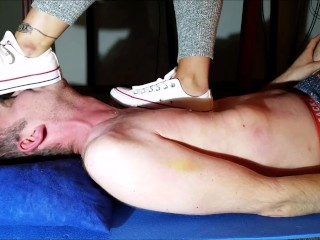 Trampling and stomping my Slave