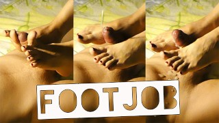 The first FOOTJOB with a stormy orgasm, CUMSHOT on beautiful FEET