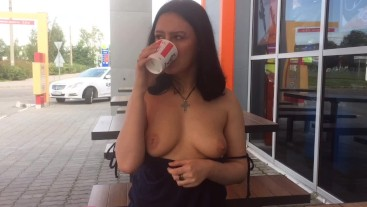 Teen girl funny shows boobs in KFC