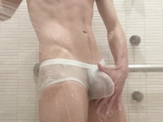 Bulge in locker room shower and going walk...