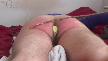 Real-time paddling and caning figged ass till orgasm