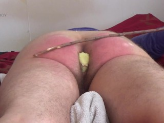 Realtime paddling and caning figged ass till orgasm
