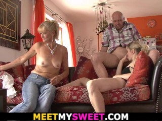 Old mother and dad seduce her into family sex
