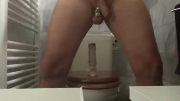 9/13 stretching balls and riding dildo with cruel condom