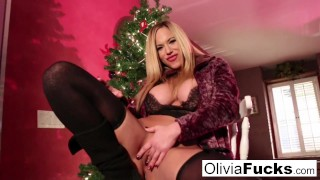 Christmas masturbation with busty blonde Olivia Austin