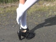 Schoolgirl show under the skirt and feet white knee socks fetish