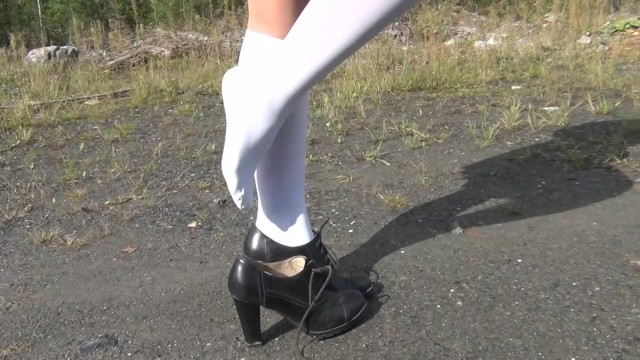 Under 18 showing pussy Schoolgirl show under the skirt and feet white knee socks fetish
