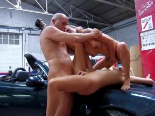 Two Blonde Teen Fuck Inside Car Shop By Shop Guy