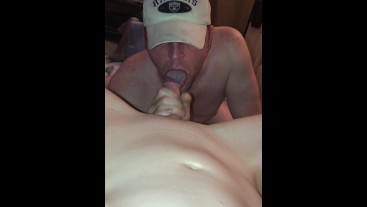 Hunk swallows twinky hubby's hard cock