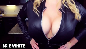 Eat it for Cleavage Big Tits Catsuit Corset CEI Cum Eating Brie White