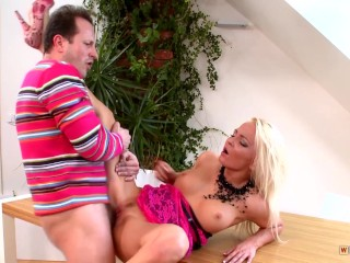 Incredibly Hot Blondine gets Railed on the Dining Table