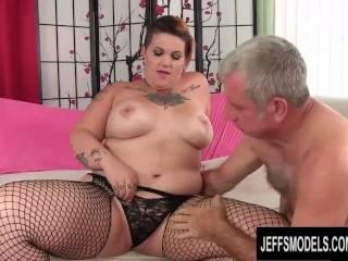 Pervy Old Man Cant Get Enough of BBW Nova Jades Curvy Tattooed Body