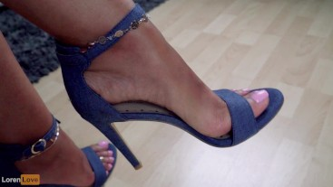 Crossed Legs Tease 2 -Blue Heels Loren Wants To Feel You Between Her Arches