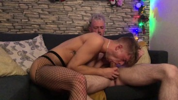 Mickey Taylor fucks young stud in stockings with housemate