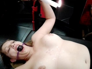 BDSM session with my boss, tied and attacked with candle wax on my tits!