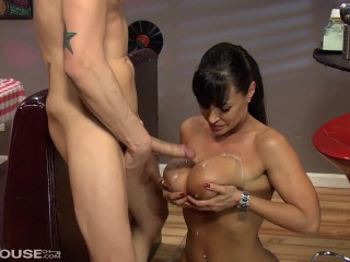 Busty Lisa Ann Provides the Ultimate Milf Shake while Riding Cock at Work Lisa Ann