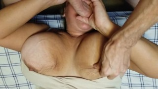 Facefucking my bbw wife while rub her pussy,slap and rub her titties