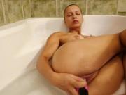 Masturbation in the bathroom by pink dildo - Mia Split