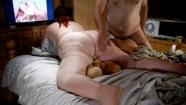Amazing foursome with male and female sex doll