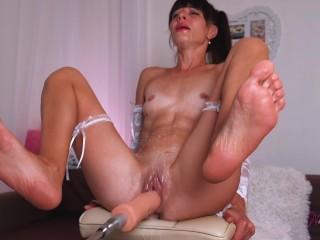 Sex Machine and Hitachi stretch my CuntI get Multiple Squirt Orgasm