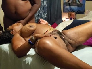 Taking the BBC on a massage table with cum shot on Tits