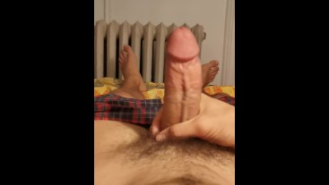 Smooth Thick Cock Bedtime Masturbation & Cumshot
