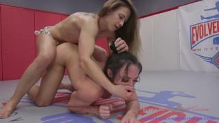 Cheyenne Jewel lesbian wrestling Brandi Mae winner strapon fucks loser