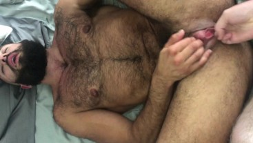 FTM TransMan gets Creampied and then Fingered by Big-Dick Dude